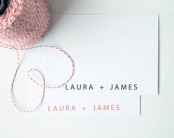 Personalized Stationery -- The Couple's Card -- Modern His & Hers Classic Stationery -- Flat Card  / Envelope Set -- CHOOSE YOUR QUANTITY