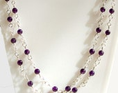Amethyst sterling silver 2 strand wire wrapped necklace