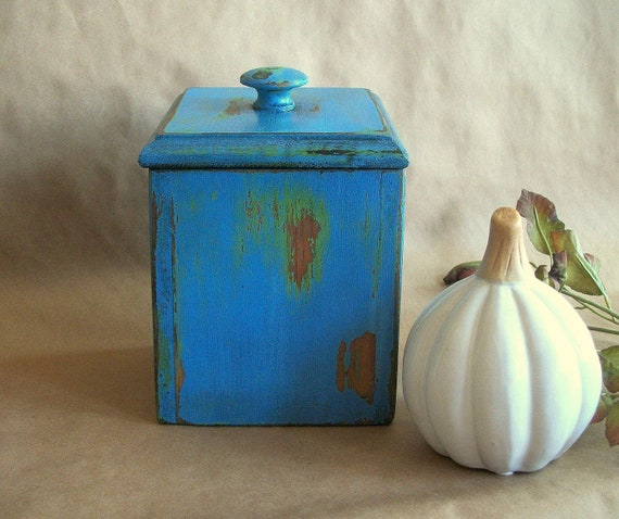 Vintage Box in a Rustic French Blue Finish