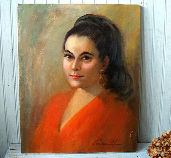 Vintage Original Painting Portrait of a Mid Century Woman
