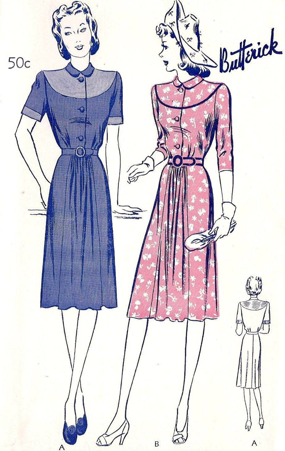 1940s casual fashion 1940s casual dress vintage sewing pattern with by