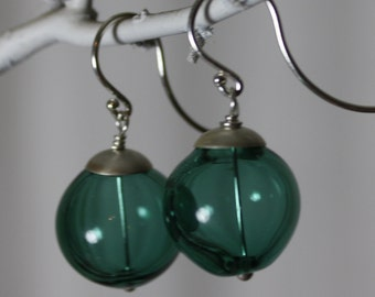 lake blue and sterling silver hand blown glass earrings
