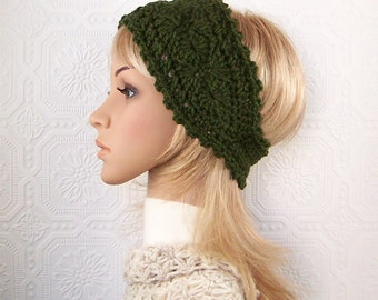 Crochet headband, boho headwrap, ear warmer - olive green - women's accessories winter fashion handmade Sandy Coastal Designs made to order