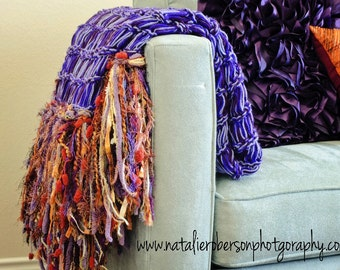 Purple and Orange Wedding Gift Fertility Blanket Home Decor Throw Afghan - Purple Lap Blanket with Orange Fringe