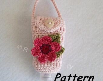 Instant Download to PDF Crochet PATTERN: Floral Hand Sanitizer Cozy for 1 oz. Bottle