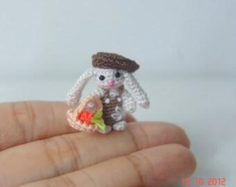 Miniature art 1 inch tiny crochet bunny - Dollhouse decor amigurumi animal