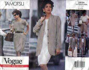 Vogue 2834 Tamotsu Wardrobe Jacket Top Dress Skort Skirt B36 B38 B40 Uncut