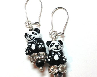Panda Black & White Dangle Earrings - Rhinestone Rondelles - Sterling Silver kidney earwires -  Kid's Girl's Children's Earrings - Zoo