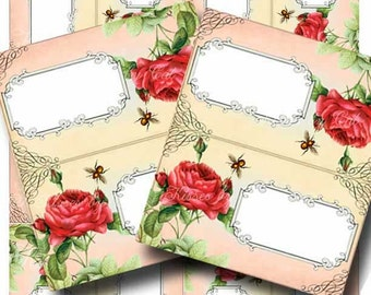 Vintage Escort Cards Digital Collage Sheet ETERNITY Printable Tented Place Cards Weddings Bridal Baby Party Red Rose GalleryCat CS194