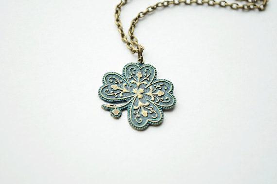 Shamrock Necklace - St. Patrick's Day, Clover Necklace, Aged Patina, Verdegris, Irish, Lucky Charm