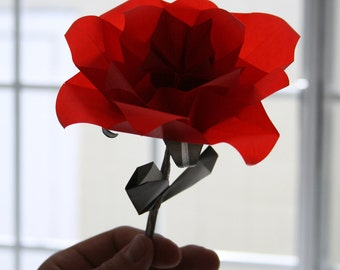 Origami Rose - A single translucent, elegant origami flower folded with radiant vellum paper - Gift Wrapping, Gift Idea