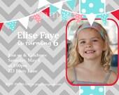 Chevron Bunting Pennant Banner Photo Invitation Birthday Printable, Grey, Red, Pink, Teal