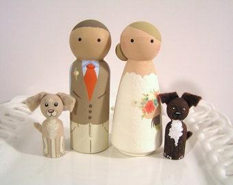Cake Cuties- Custom Wedding Cake Toppers LARGE SIZE Plus 2 Animal Friends