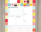 Printable Day Planner Family Organiser Mid Century Colourful Grid Pattern