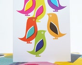 Card Rainbow Birds Nature Illustration Blank Thank You Notelet Greeting Card