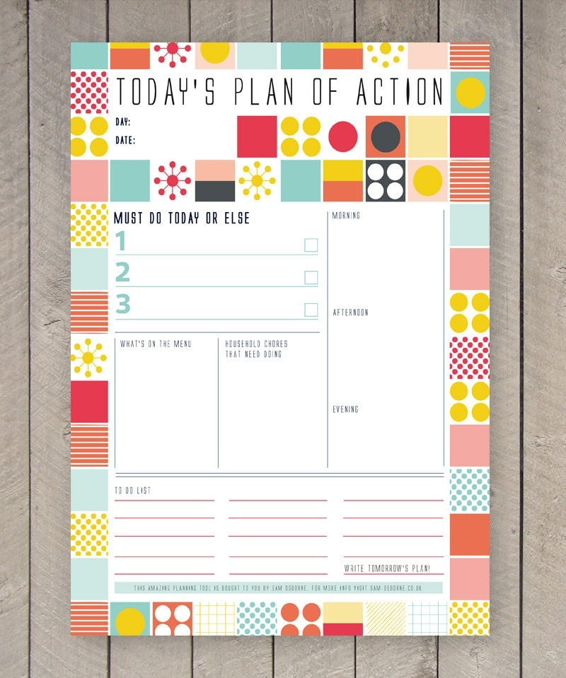 Printable day planner family organiser mid century colourful for Designer planners