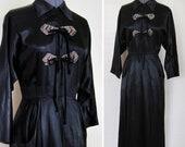 1930s Dress Gorgeous ART DECO 1930s Silk Satin BEADED Applique Black Gown