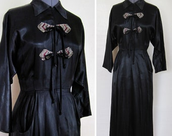 1930s Dress Gorgeous ART DECO 1930s Silk Satin BEADED Applique Black Gown