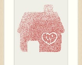 HOME is where the Heart is - Red on white Doodle Drawing A4 8x10inch print by Brenda Mangalore
