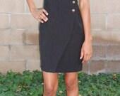1980s Buckle detail Black Wrap-Dress