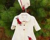 Infant coat. Gorgeous ivory fleece with beautiful, rich red roses Ready to ship Medium
