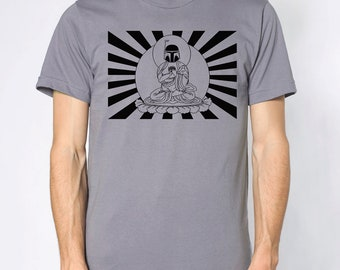 Mens Star Wars Bobba Fett Buddha- American Apparel slate gray T shirt- available in s,m, l, xl, xxl WorldWide Shipping