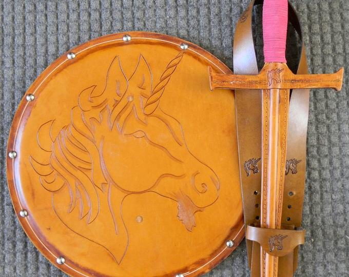SWORD Set - Sword, Shield, & sword Belt w/Unicorn Emblem - Handmade Leather