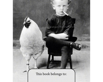 Chicken Boy Bookplates - Pack of Ten - Smoking Boy with Rooster