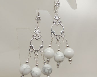 Howlite and Silver Dangle Earrings