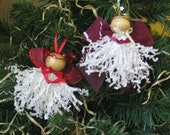 White Angel Ornaments Set of Two Paper Crimps Angel Ornaments Red Cranberry Ornaments SnowNoseCrafts