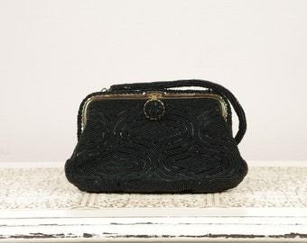 Vintage Black Evening Bag Clutch - Black Beaded Purse - Made in Japan by Walborg - Wedding Gift - Something Old - Vintage Prom -