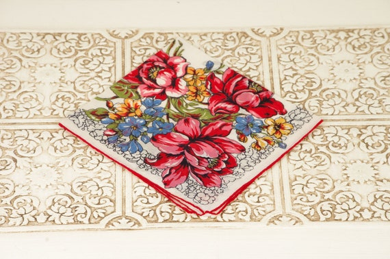 Vintage Handkerchief with Red, Blue and Gold Flowers