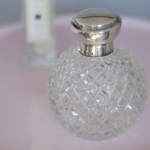 Crystal Perfume Bottle with Sterling Silver Lid