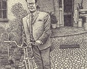 Man with Bicycle Print...