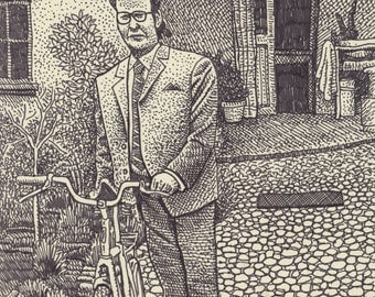 Man with Bicycle Print