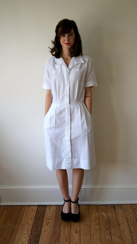 Vintage Nurse S Uniform 50s 60s White Dress Military