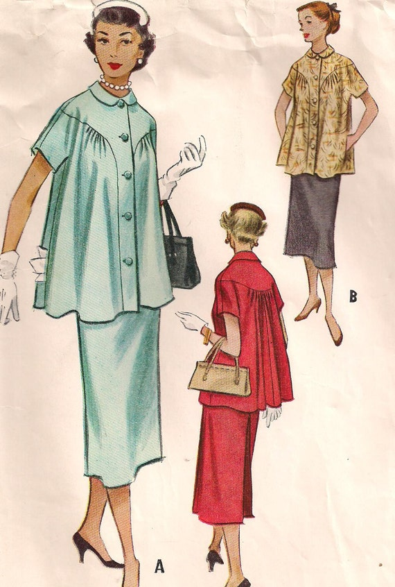 1950s Two Piece Maternity Dress Vintage Sewing Pattern