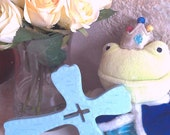 Hand Painted Wooden Cross - Baby Blue
