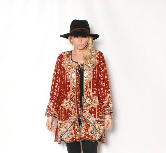 Vintage ethnic beaded embroidered jacket tunic w mirrors