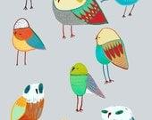 Bird nursery decor and childrens wall art. ''The Birds''.