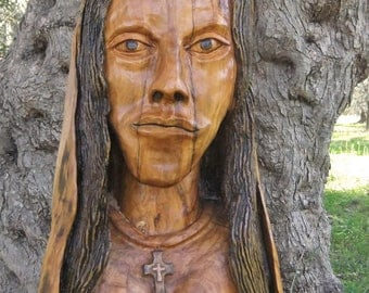 Our Lady olive wood sculpture