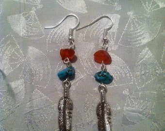 Sunshine and Blue Skies feather earrings