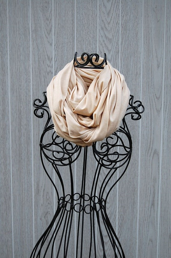 Light Tan with Gold Metallic Dusting Long and Wide Jersey INFINITY SCARF-Eternity Scarf-Scarf Cowl-Circle Loop Scarf by The Accessories Nook