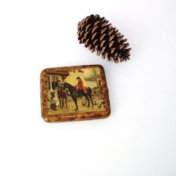 Metal Cigarette Case, Celluloid Box, Cigarette Holder, Antique Compact Container, Horse and Rider, Colonial, Alligator Skin Style