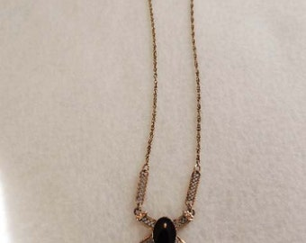 "Vintage 12K Gold Filled GF Filagree 16"" Necklace With Black Onyx Cabachon"