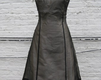 Black Organza Ballet Neckline Dress-Custom Made to Order