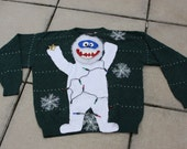 Abominable Snowman with REAL LIGHTS Ugly Christmas Sweater Made to Order ANY size 153 Elves Gone Wild