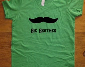 Big Brother Shirt - 6 Colors Available - Kids Big Brother Present - Mustache T shirt Sizes 2T, 4T, 6, 8, 10, 12 - Gift Friendly