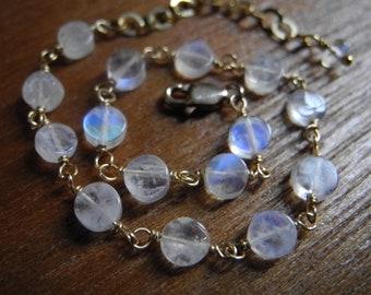 Rainbow Moonstone & Gold Filled/Vermeil Bracelet...(Uri)