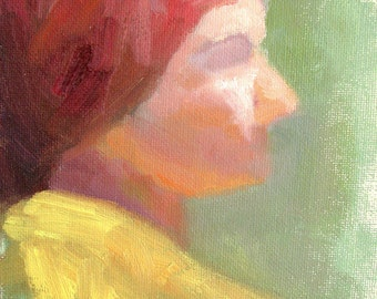 Woman with Red Scarf, Study - original figure oil painting by Keiko Richter 6x8